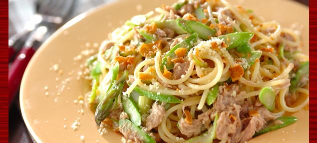 美味しそうなツナガーリックパスタ・スパゲッティー